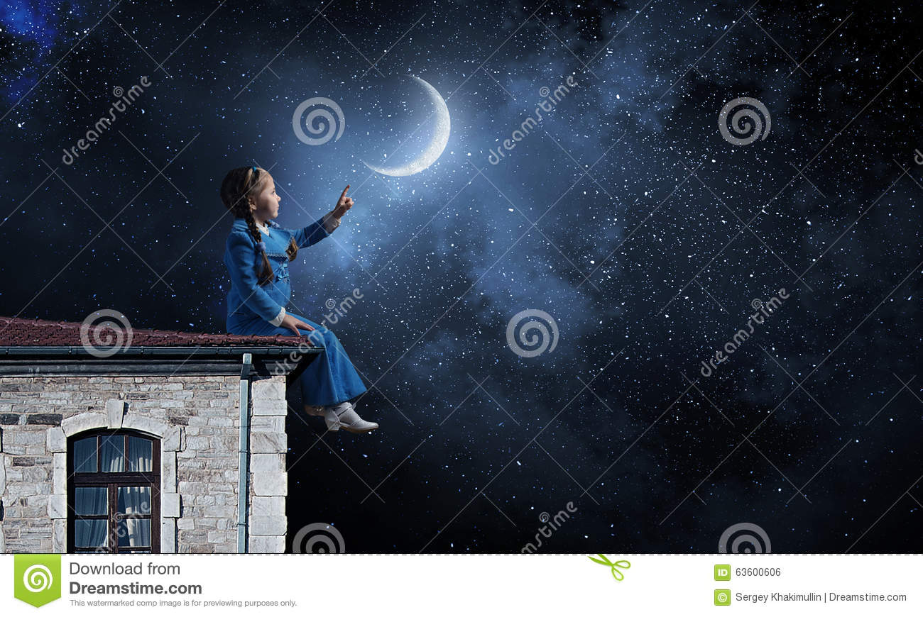 Kids at night with moon royalty free stock photography image - Royalty Free Stock Photo Kid Girl On Roof Stock Photo