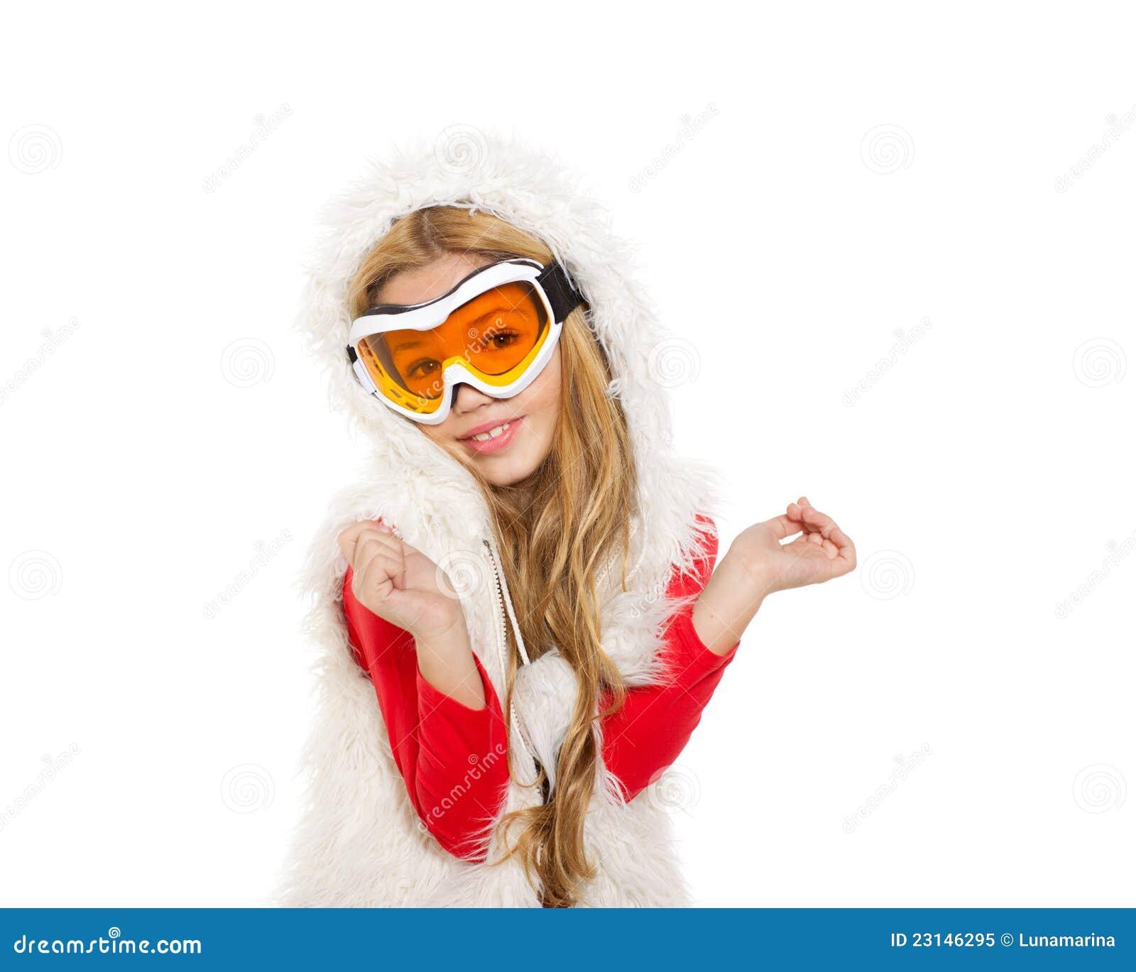 kid girl snow winter glasses white fur 23146295