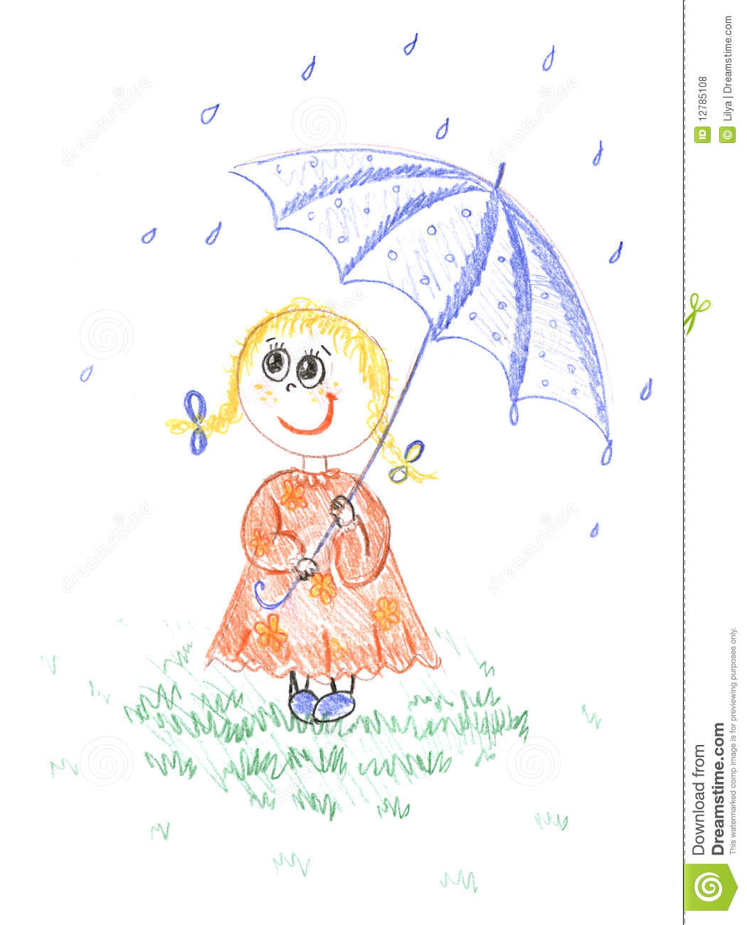 Kid girl with umbrella drawing