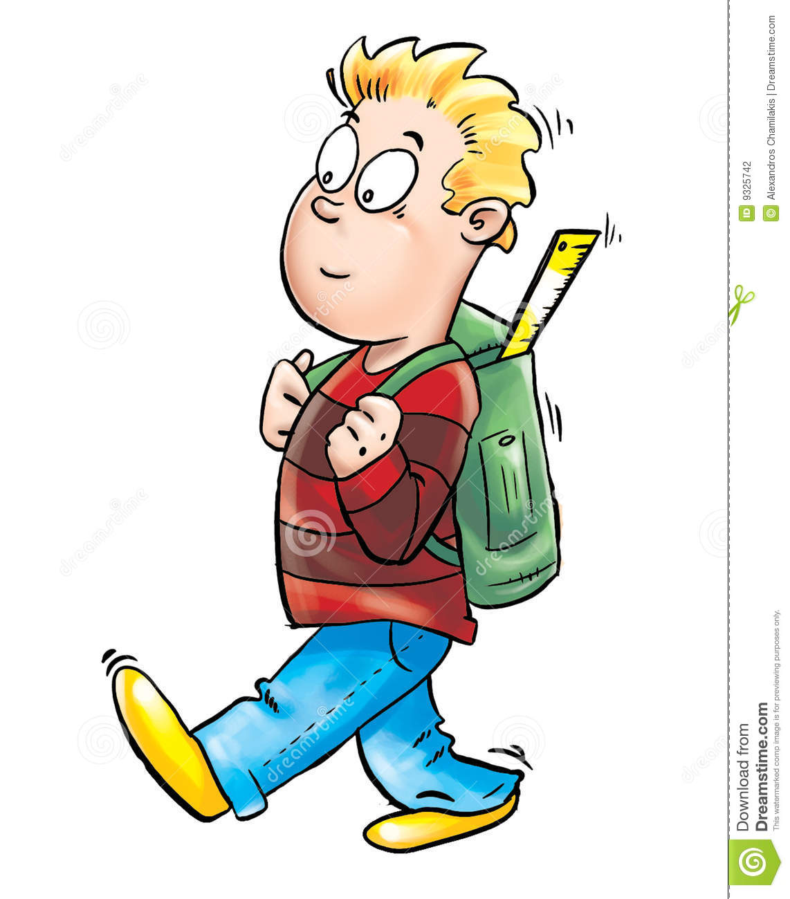 Kid Going To School Stock Illustration. Illustration Of