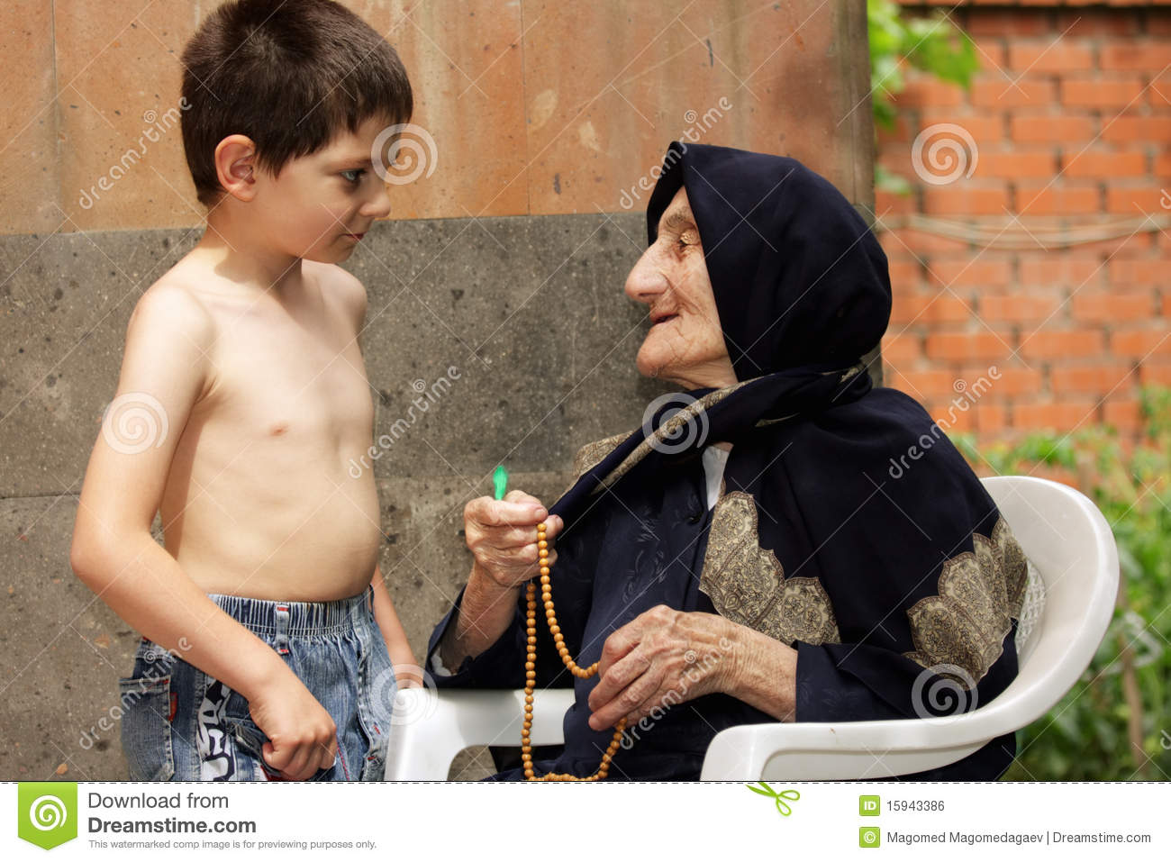 granny boy Kid And Granny Royalty Free Stock Image