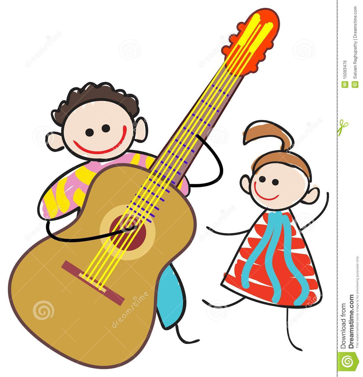 Kid guitarist stock vector. Image of feeling, funny ...