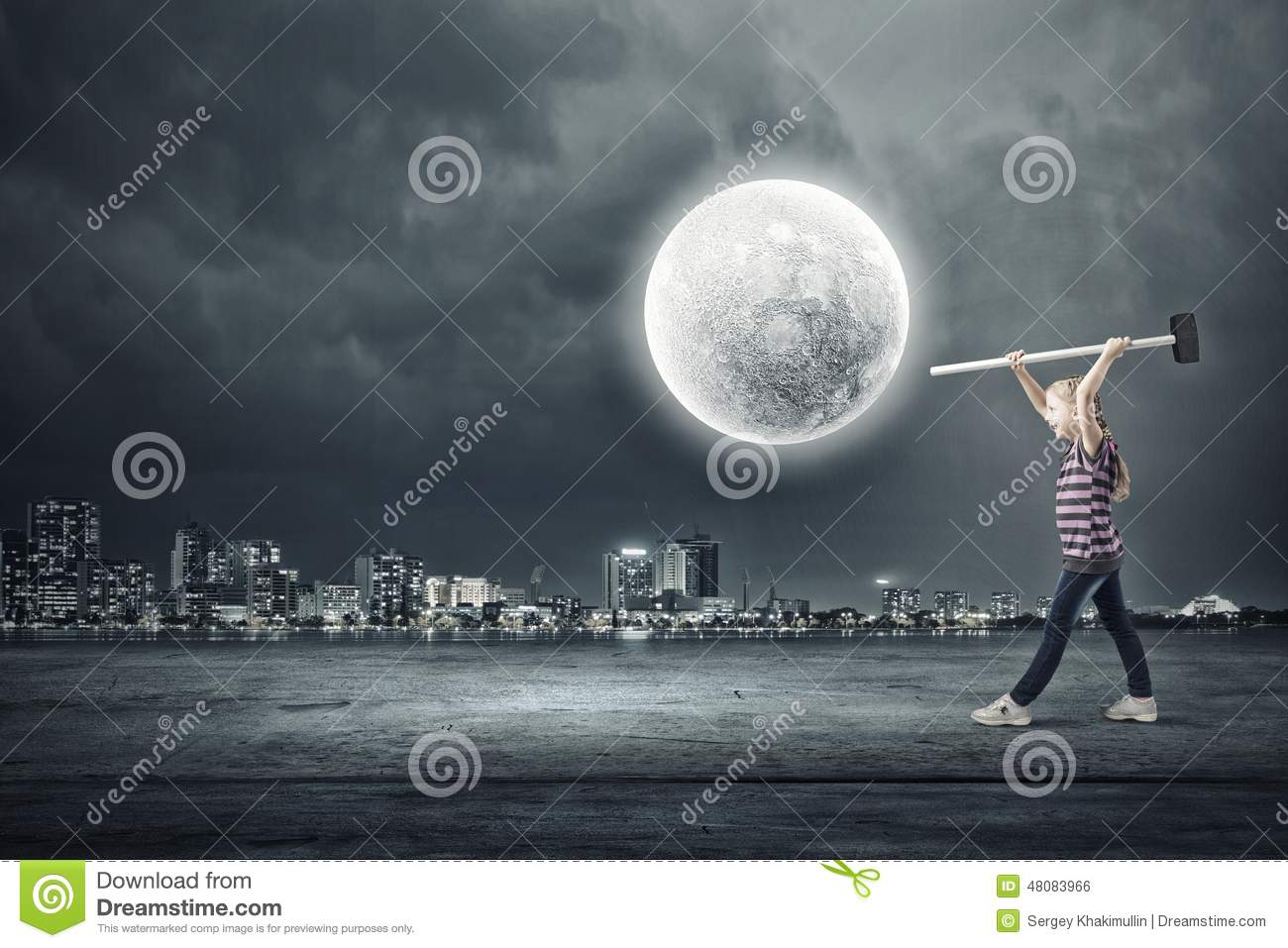 Kids at night with moon royalty free stock photography image - Royalty Free Stock Photo Girl Hammer Kid Little Night