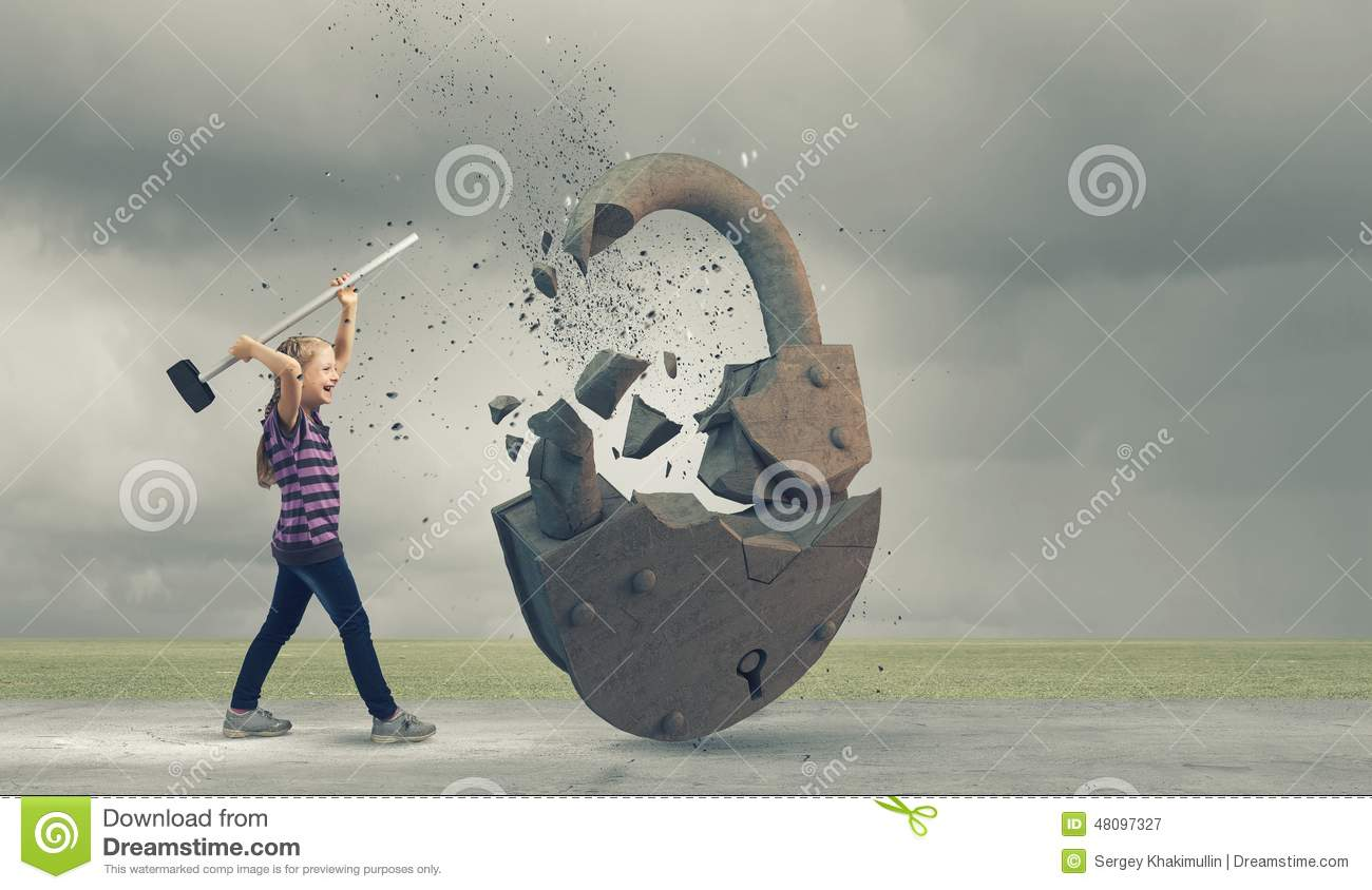Hammer Crushing Stone : Kid with hammer stock image of young security