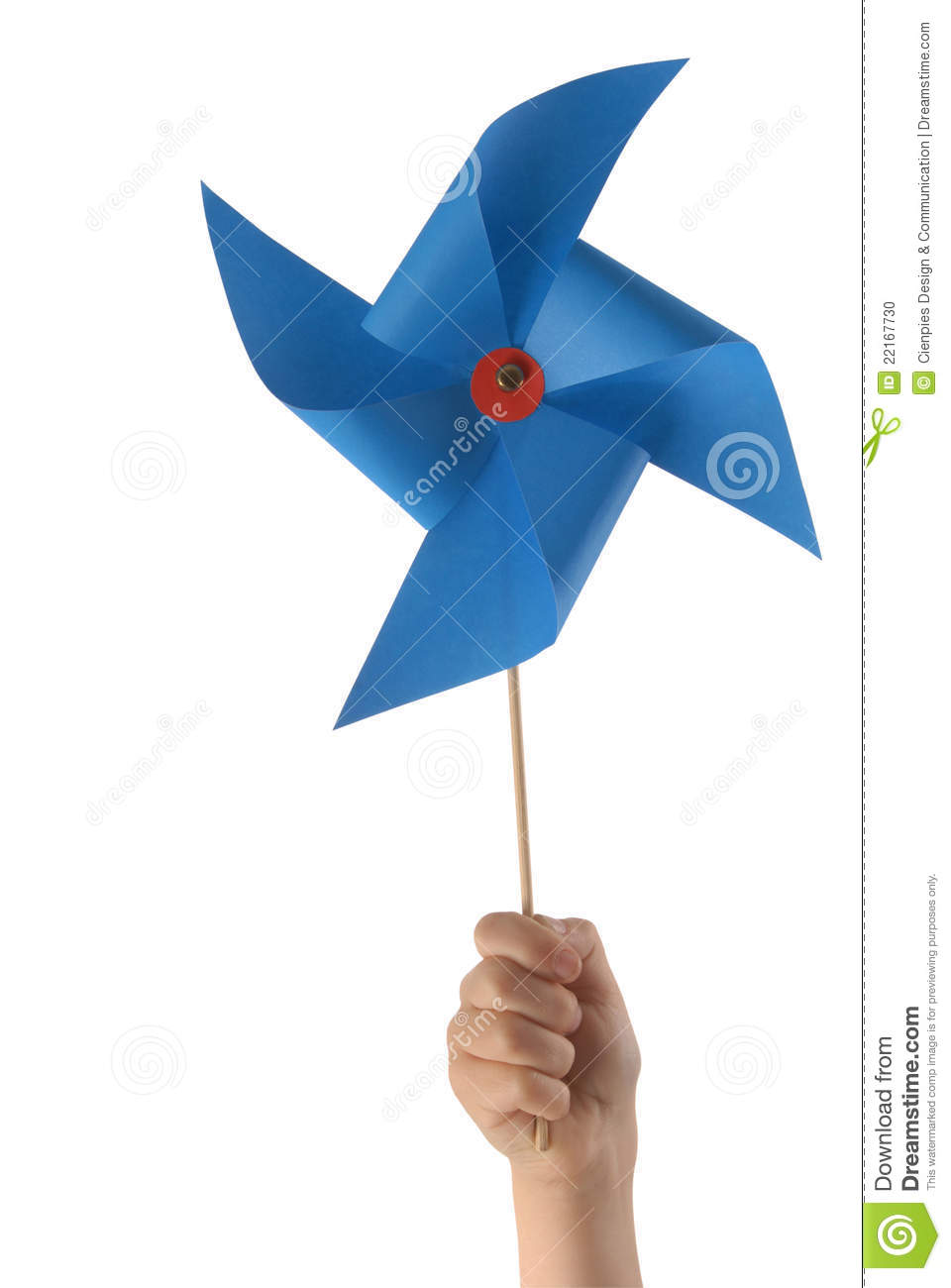 kid hand with blue windmill stock photo image of clipping