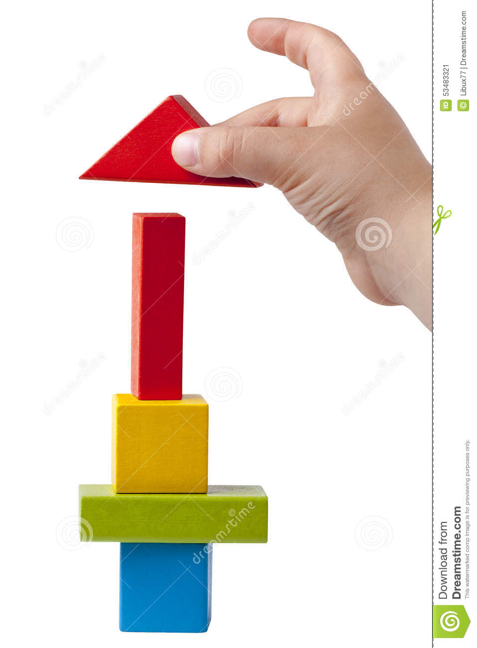 Kid Hand Building Multicolor High Tower Bricks Isolated ...
