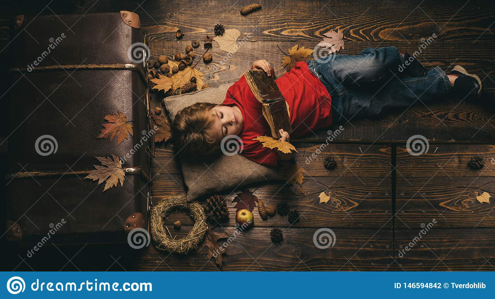 Kid having fun with Leaf fall. Kid playing in autumn. Little cute boy lies on a wooden floor with autumn leaves and read