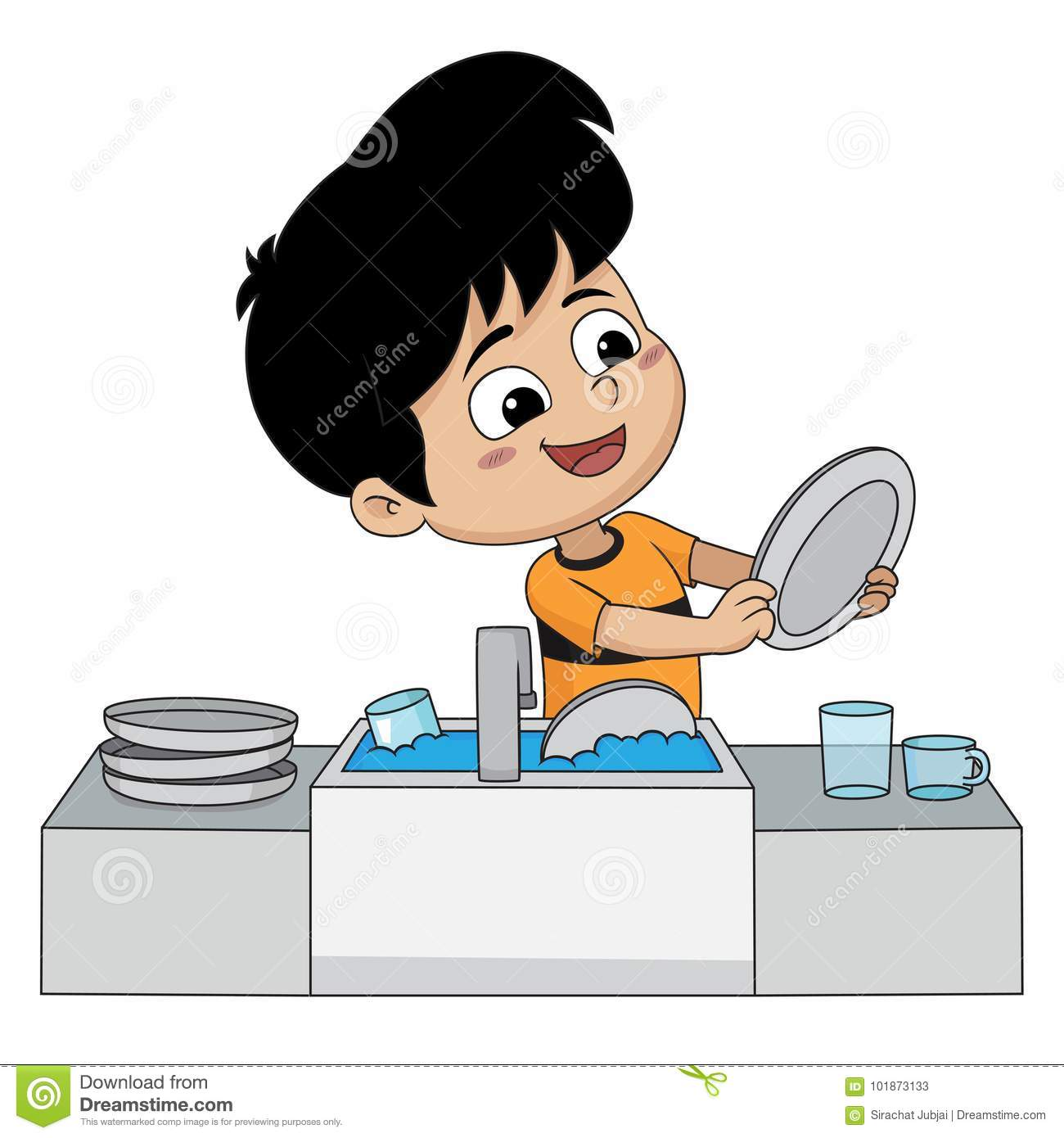 Kid Help Their Parents Wash Dishes. Stock Vector ...