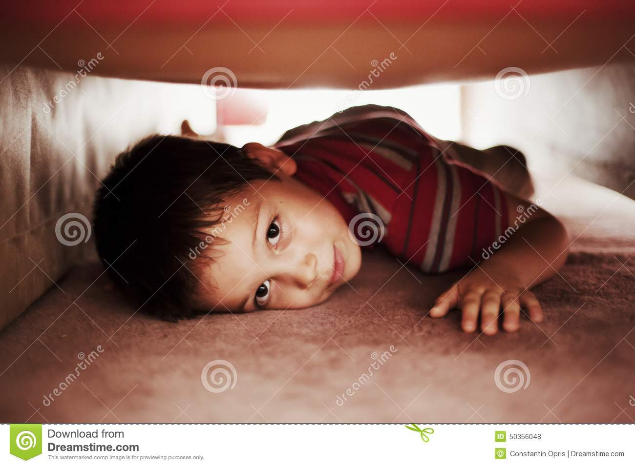 Kid Hiding Under Bed Stock Photo Image Of Playing Game 50356048