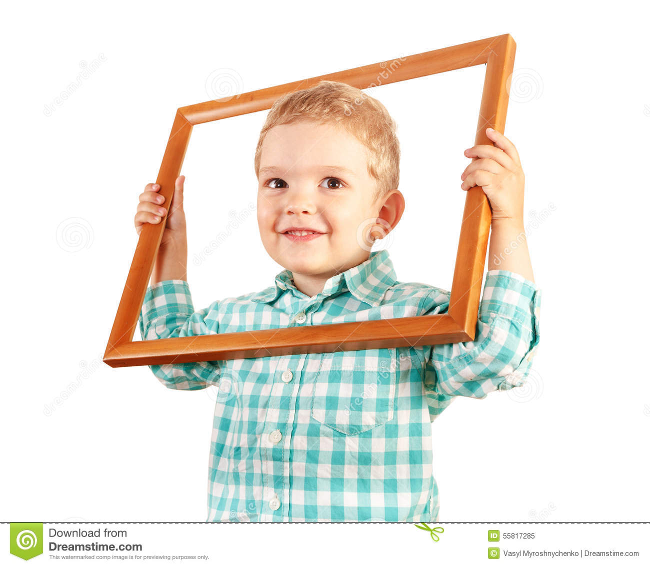 Kid Hold Wooden Picture Frame On White Background Stock Image