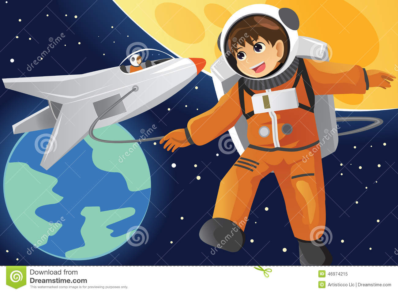 Kid Imagining As An Astronaut Stock Vector - Image: 46974215