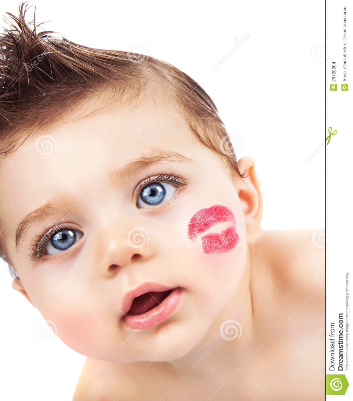 kid with kiss stock images