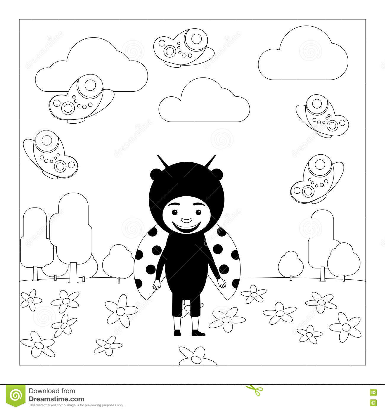 Kid In Ladybug Dress Coloring Page Stock Vector Illustration Of