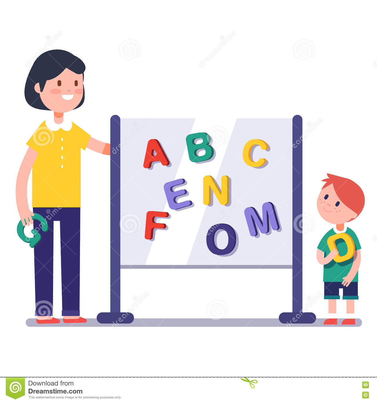 Modern Classroom Game ~ Kid learning abc in kindergarten with teacher stock vector