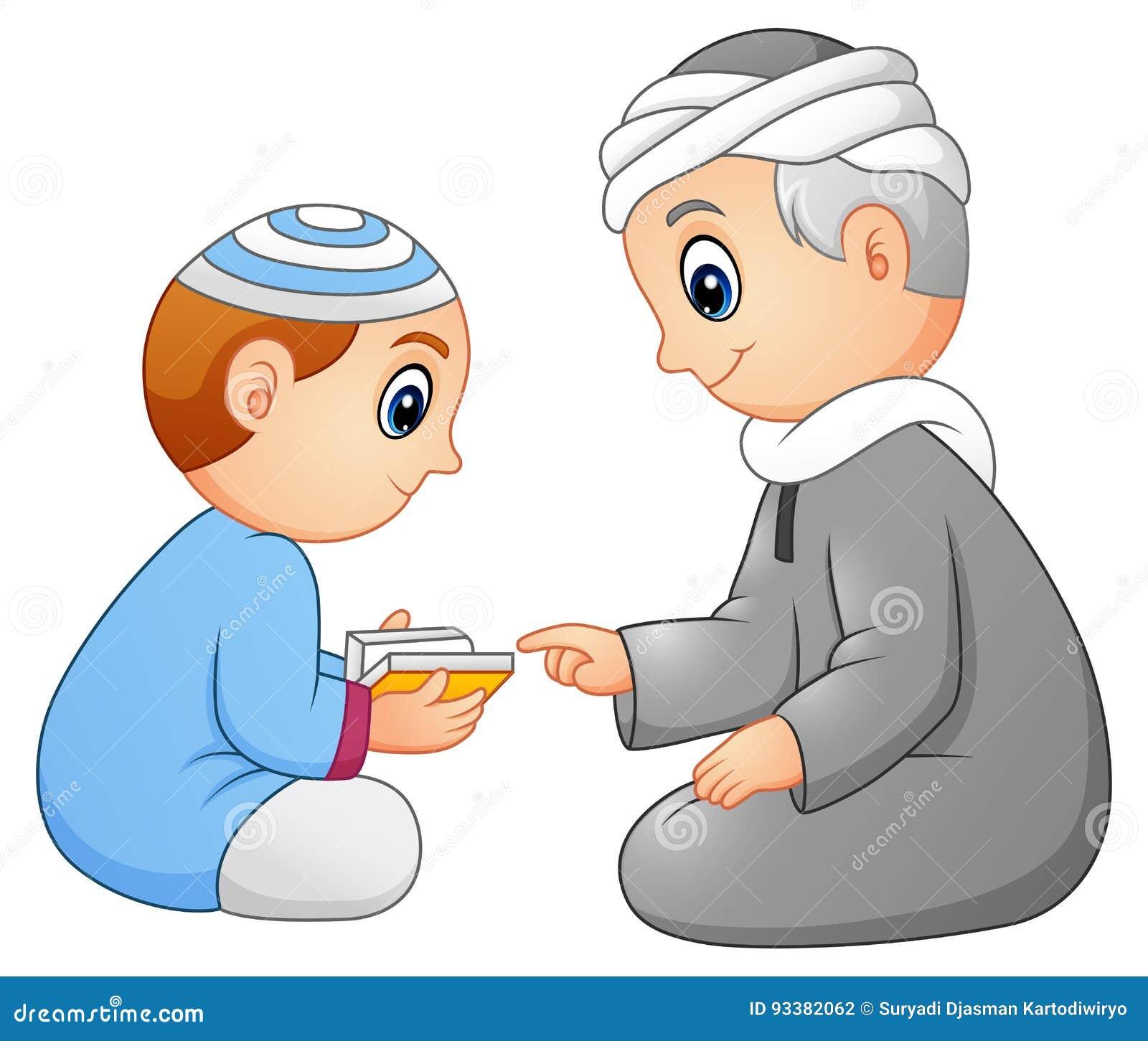 Illustration of muslim boy reading holy quran.
