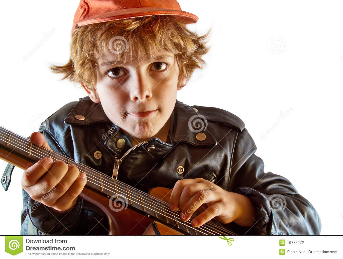 kid learning to play guitar stock photo image of child lead 19735272. Black Bedroom Furniture Sets. Home Design Ideas