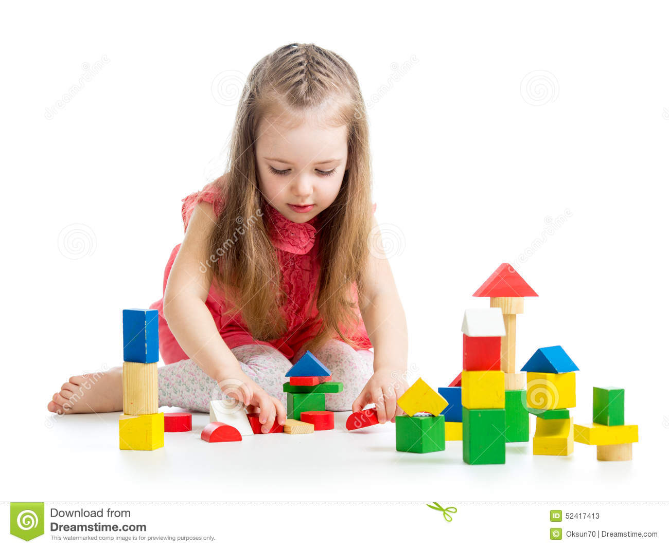 Kid little girl playing on floor stock image image of for On the floor