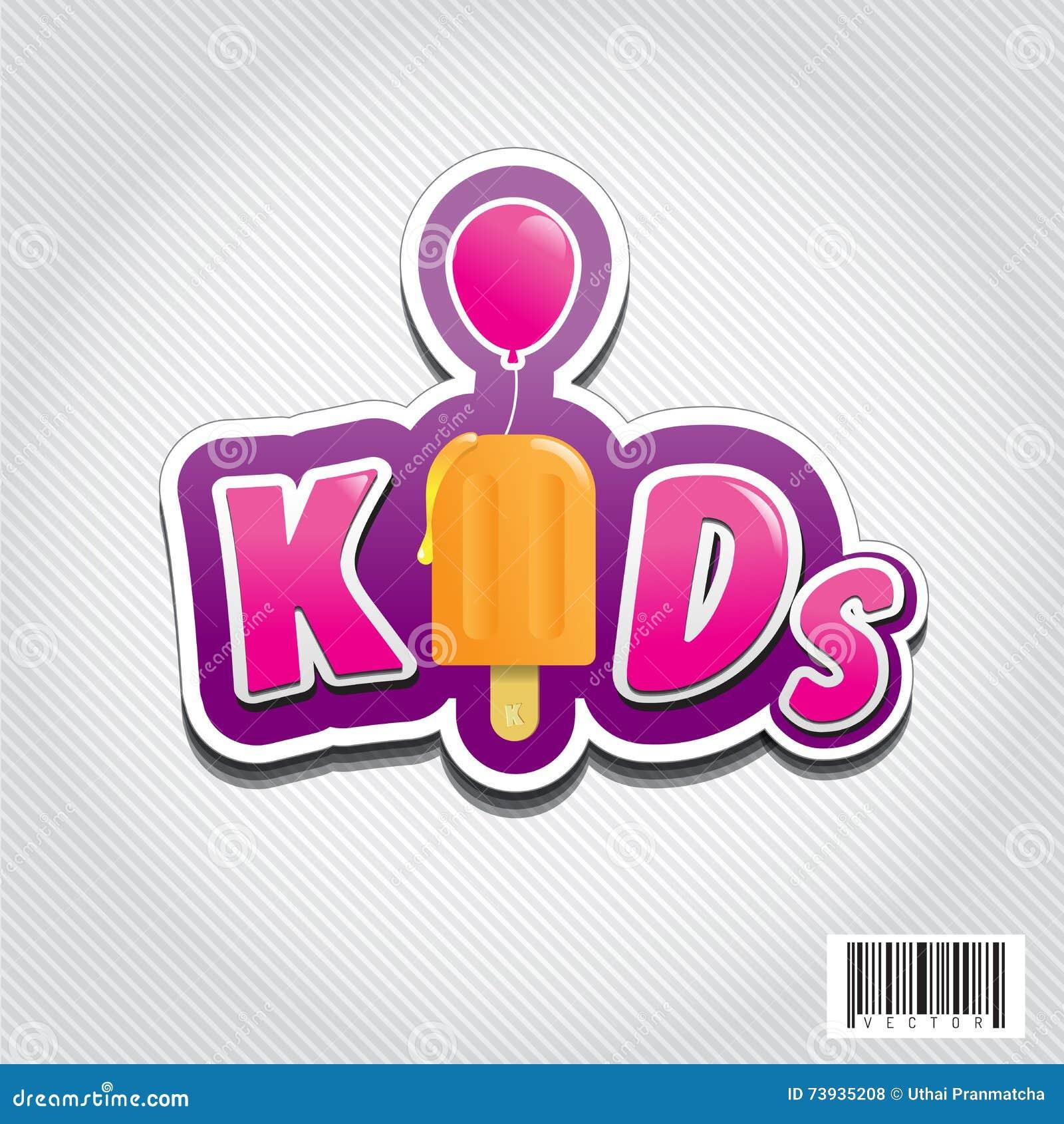 Kid Logo Design With Ice Cream And Balloon Symbol Stock