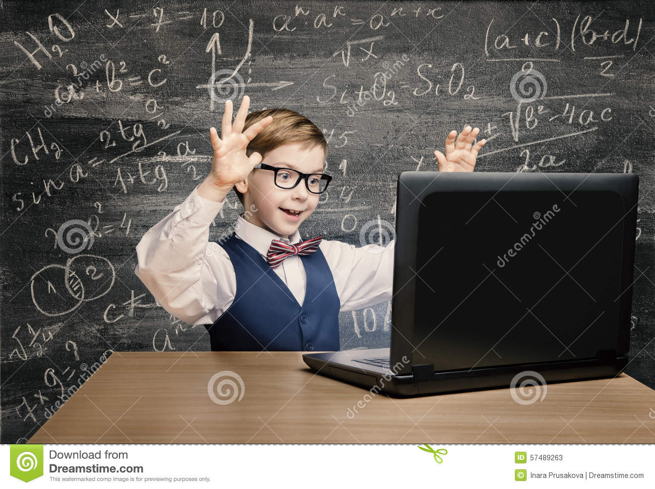 Kid Looking at Laptop, Child with Notebook, Little Boy Formula