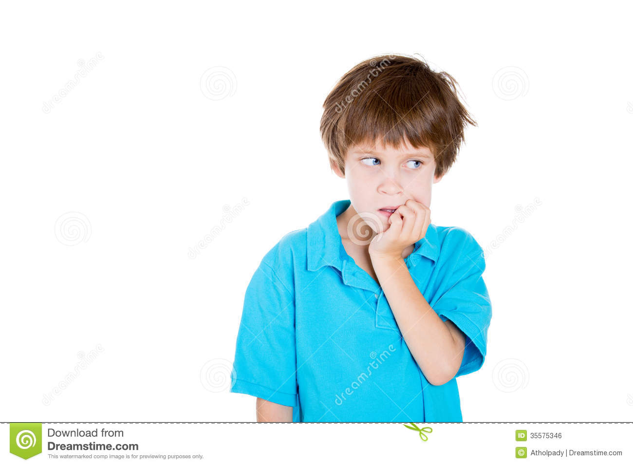Kid Looking Sideways Biting Nails In Anxiety Stock Photo Image Of