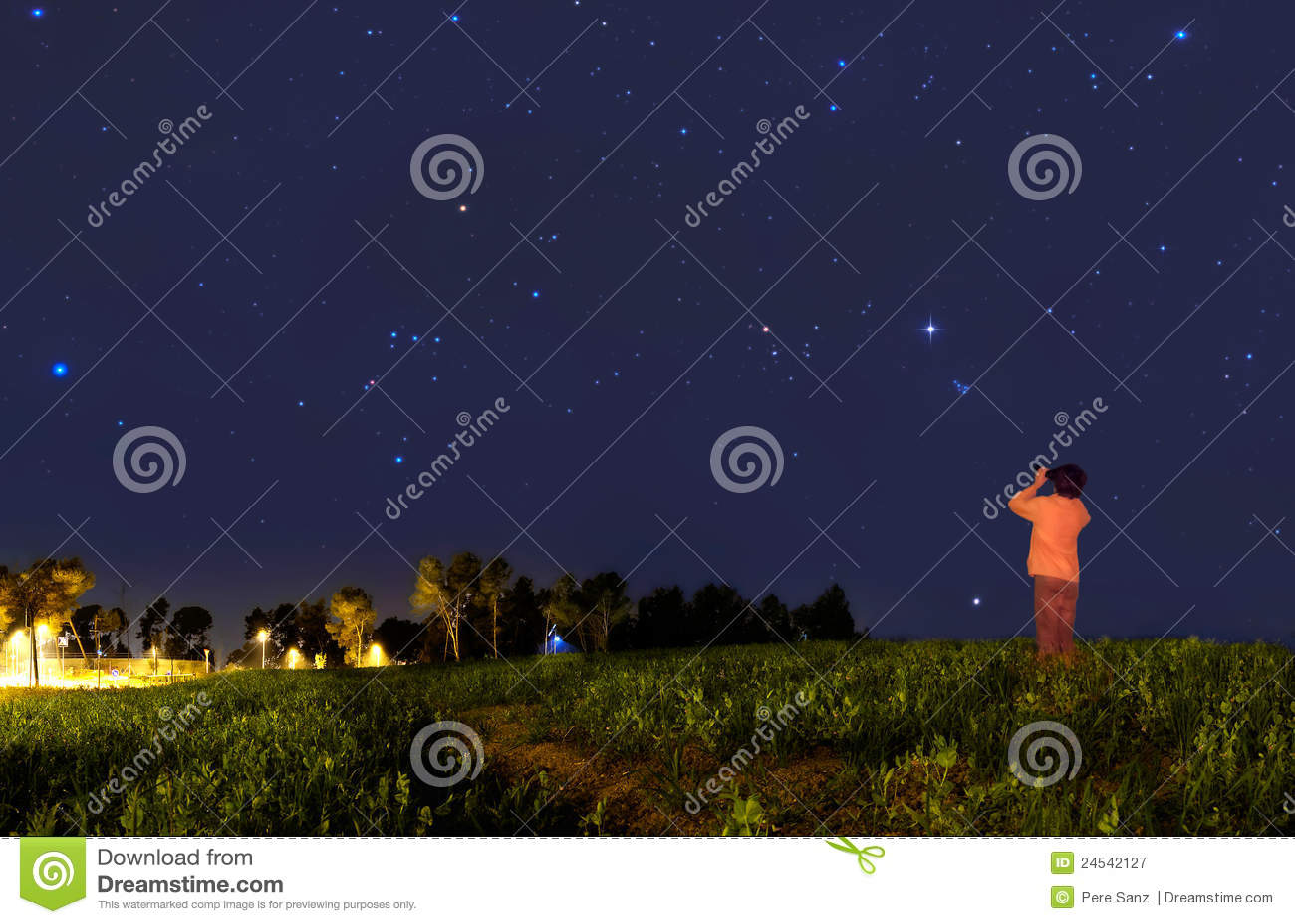 Kid looking at the stars