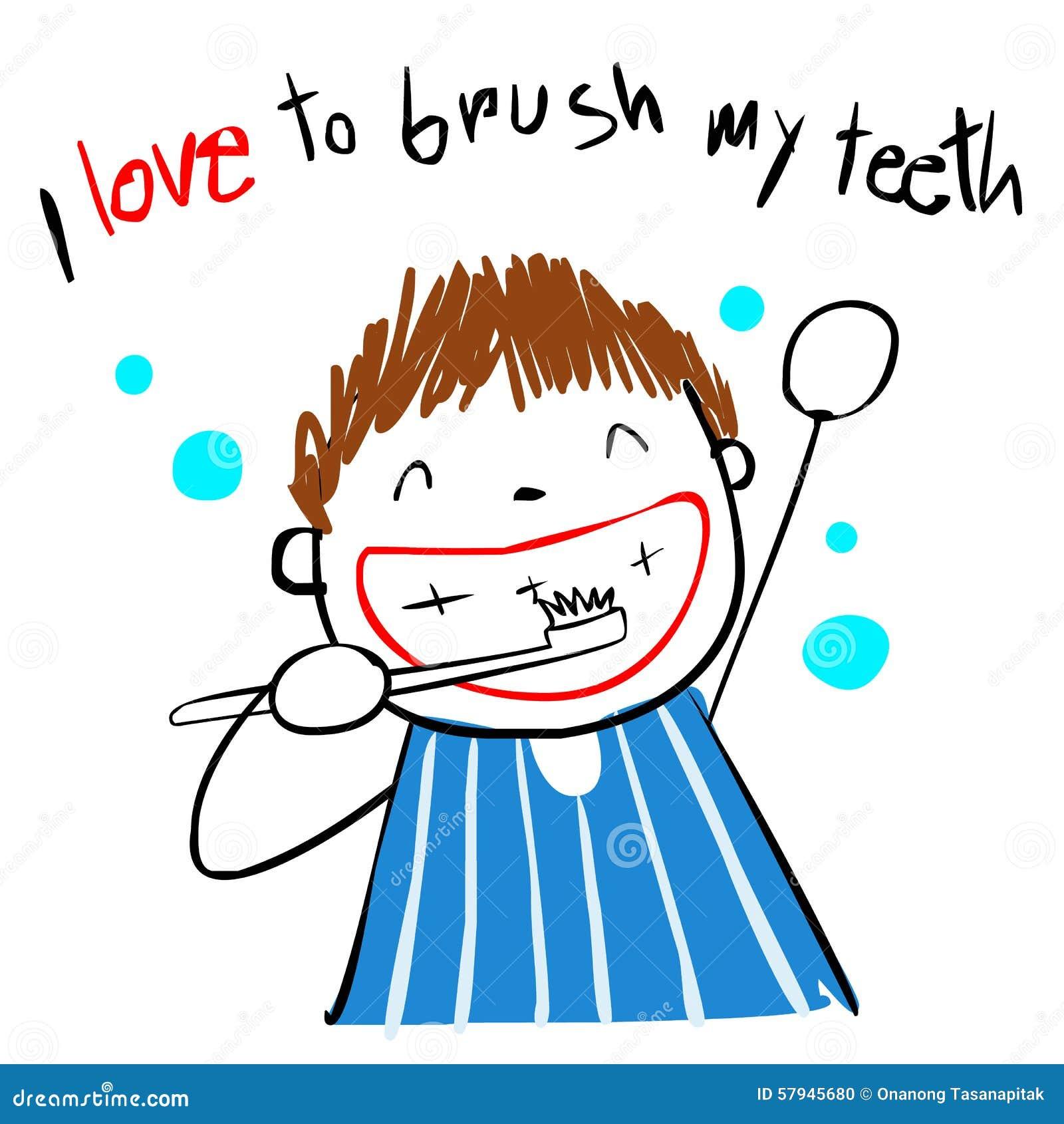 Kid Love Brush Teeth Illustration Stock Vector - Image ...