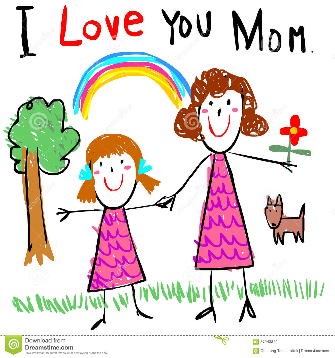 kid love mom drawing picture illustration - Kid Pictures To Draw