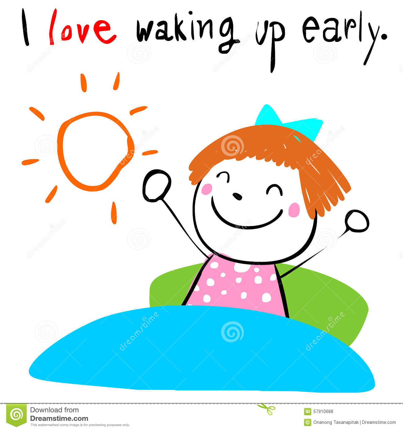 kid love waking up early illustration stock vector image dog sleeping in bed clipart People Sleeping Clip Art