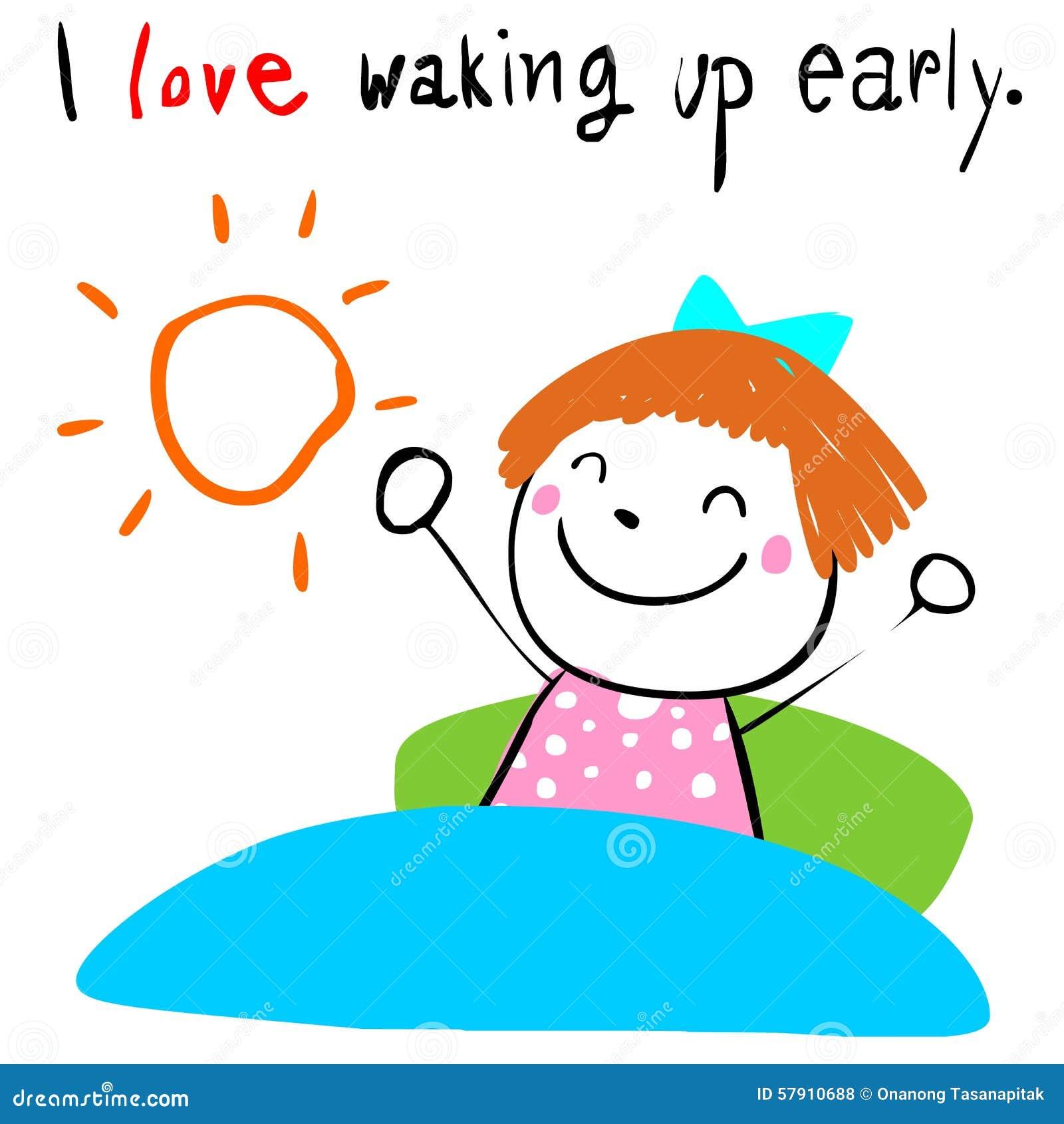 Kid Love Waking Up Early Illustration Stock Vector ...