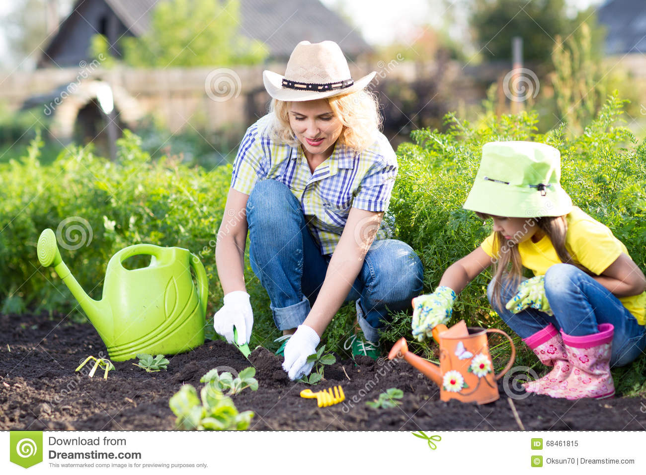 kid with mother planting seedlings in garden stock image image 68461815. Black Bedroom Furniture Sets. Home Design Ideas