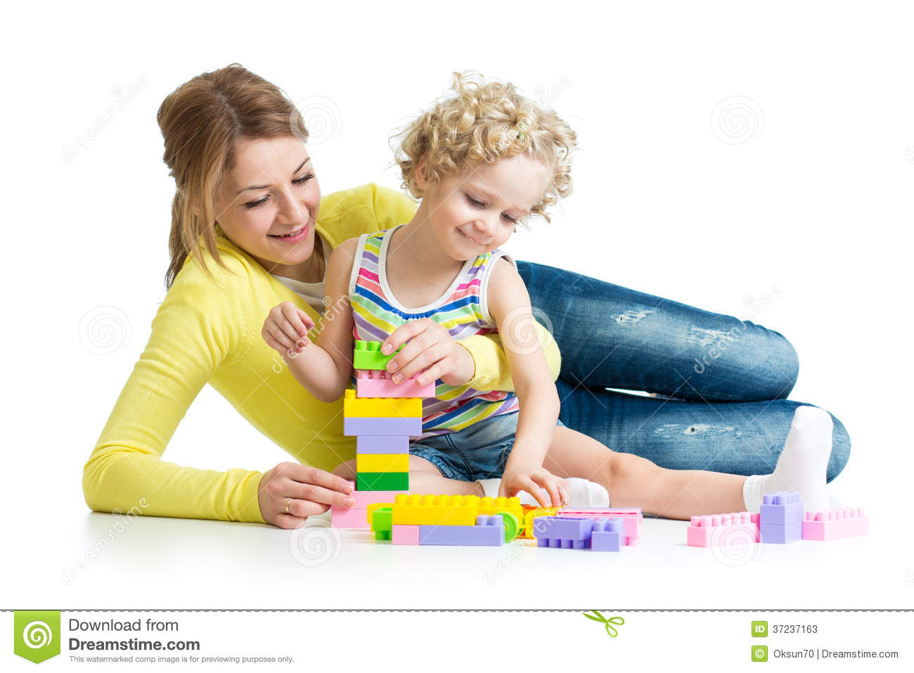 Mom Play Toys : Kid and mother play toys stock photos image