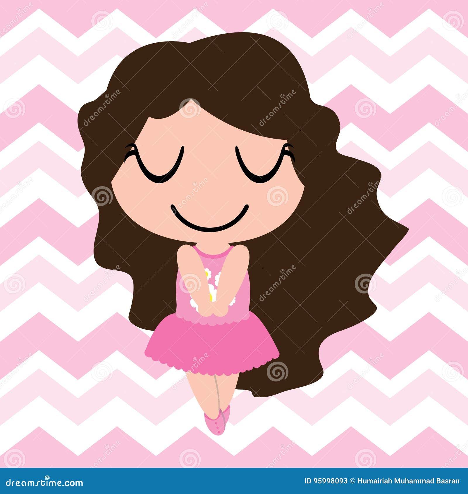 Kid Nursery Wall With Cute Girls On Pink Chevron Background Cartoon