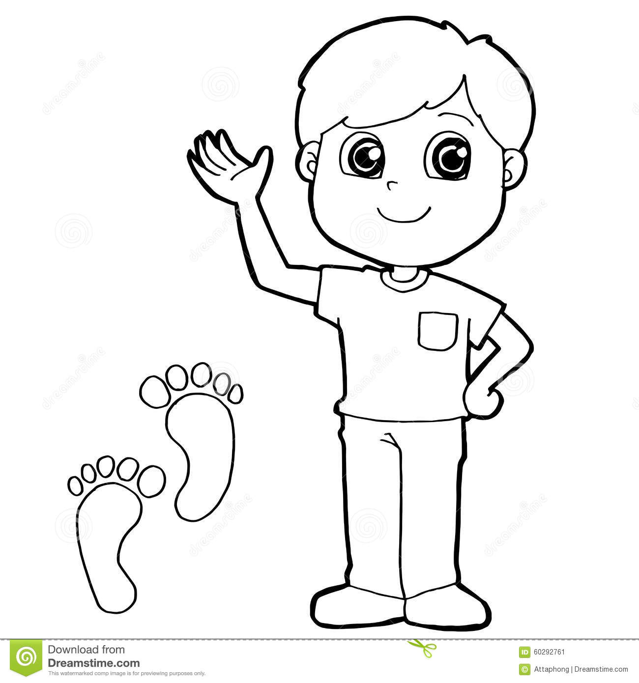 Kid With Paw Print Coloring Page Vector Stock Vector ...