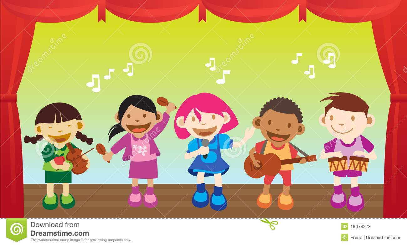 Multicultural children performing a music on the stage