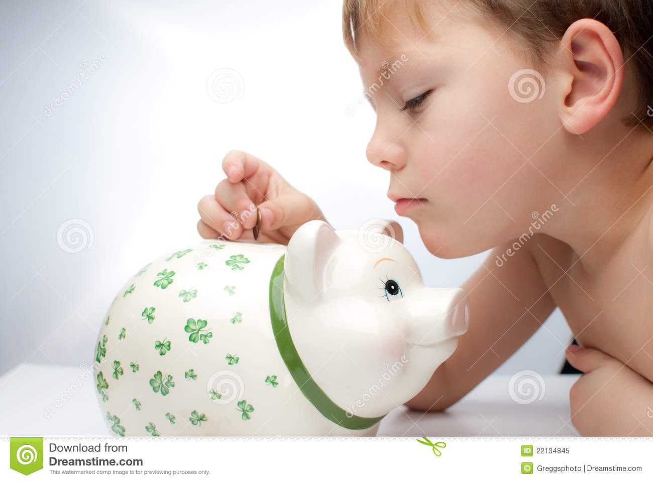 Kid with a piggy bank royalty free stock photo image for Childrens piggy bank