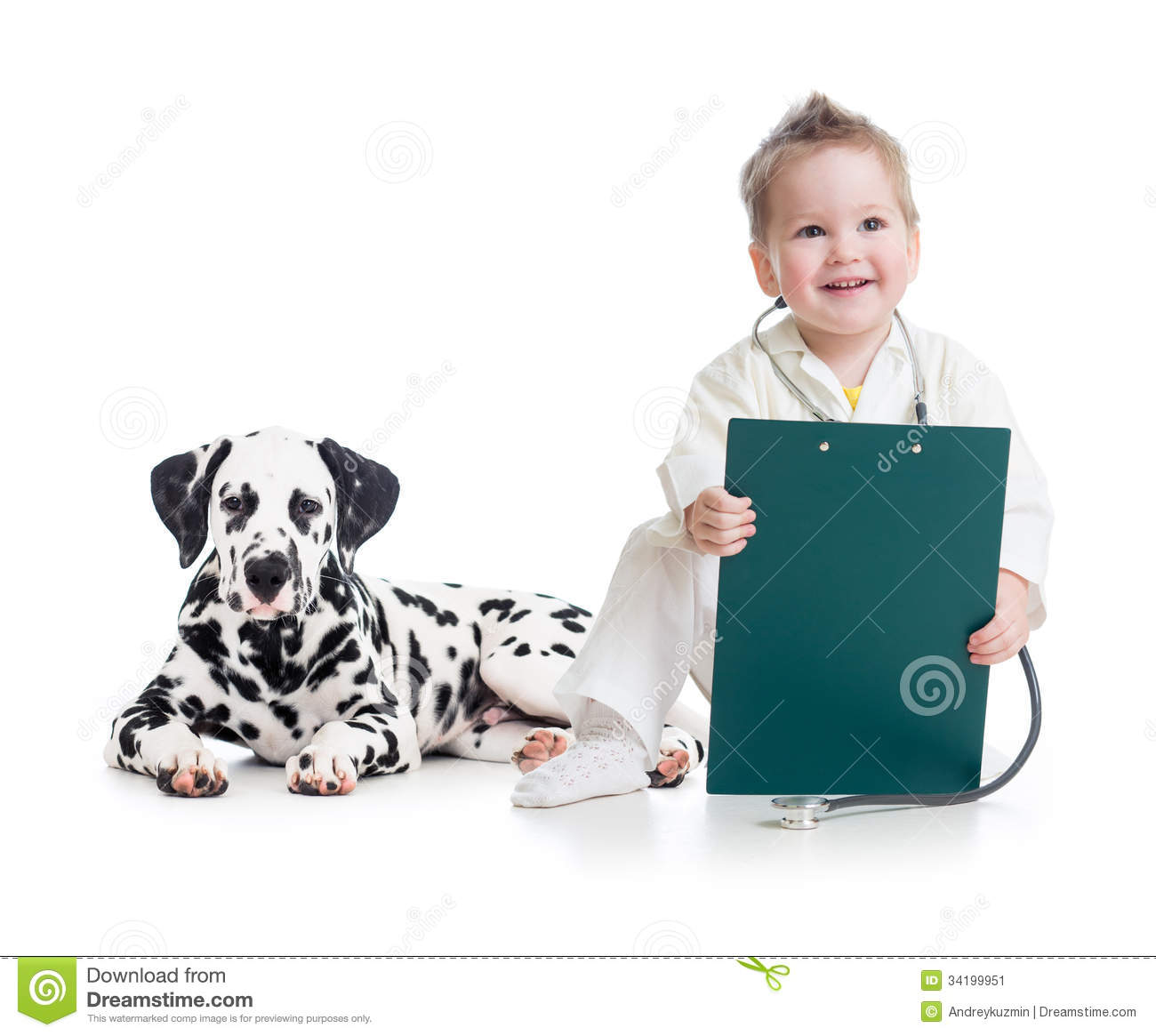 Kid playing doctor with dog