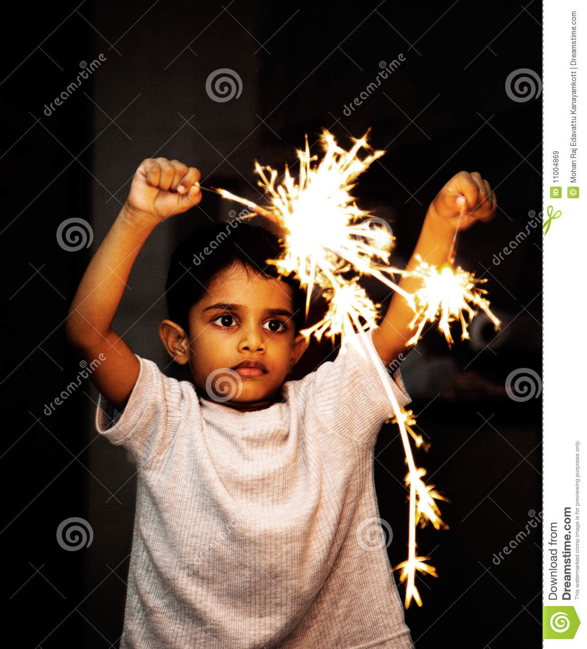 Kid playing with fire crackers on Diwali Festival