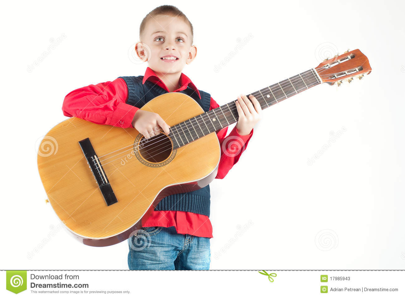 kid playing the guitar stock image image of portrait 17985943. Black Bedroom Furniture Sets. Home Design Ideas