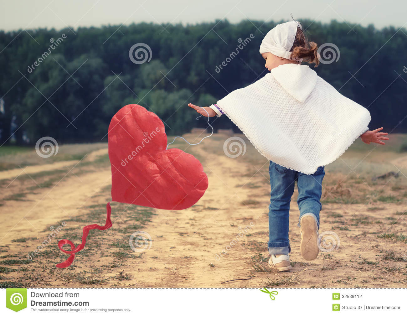Kid Girl Playing With A Red Heart Kite Stock Photo - Image of ...