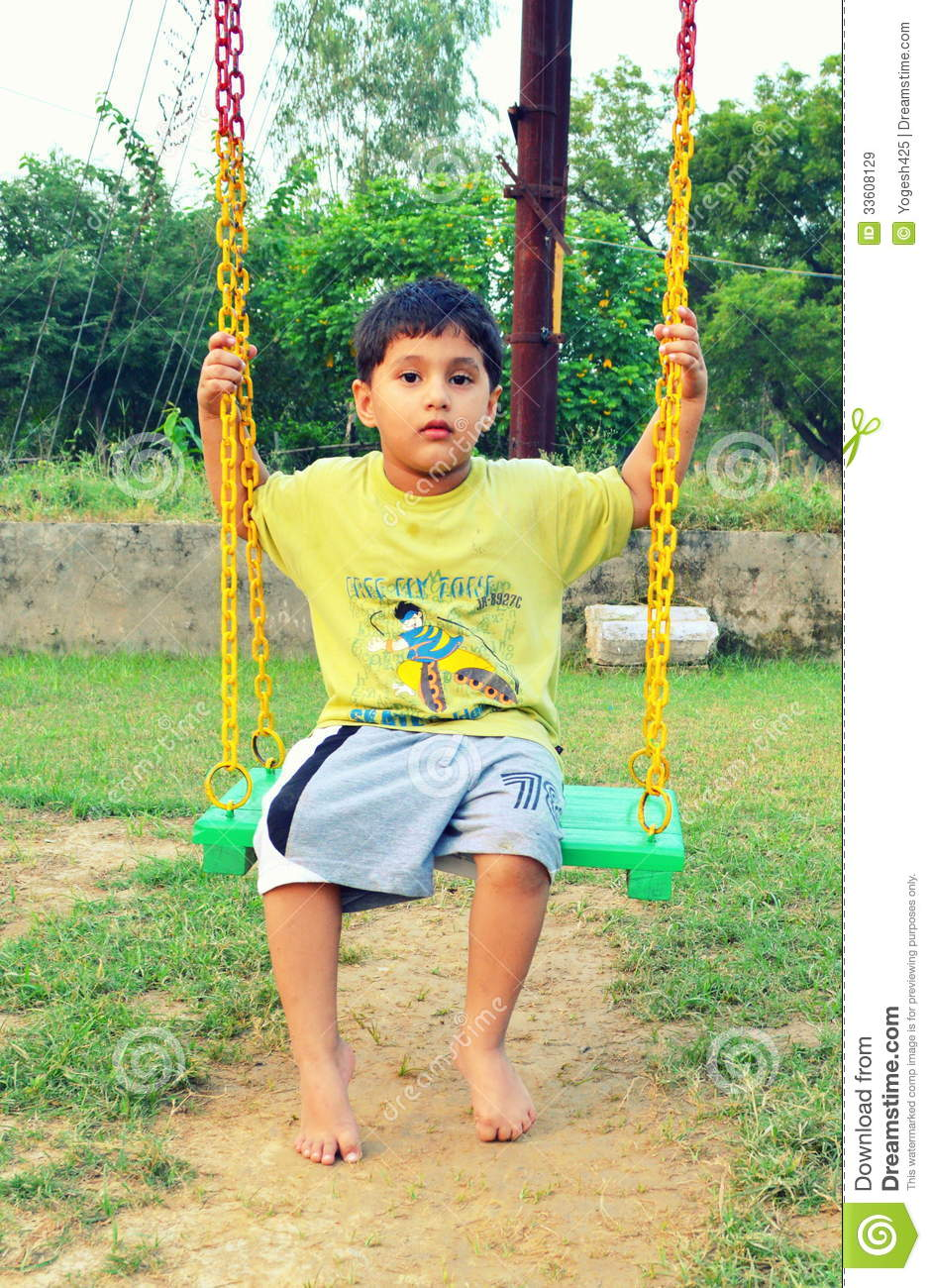 Kid playing with swing editorial stock image image 33608129 for Child swing plans free