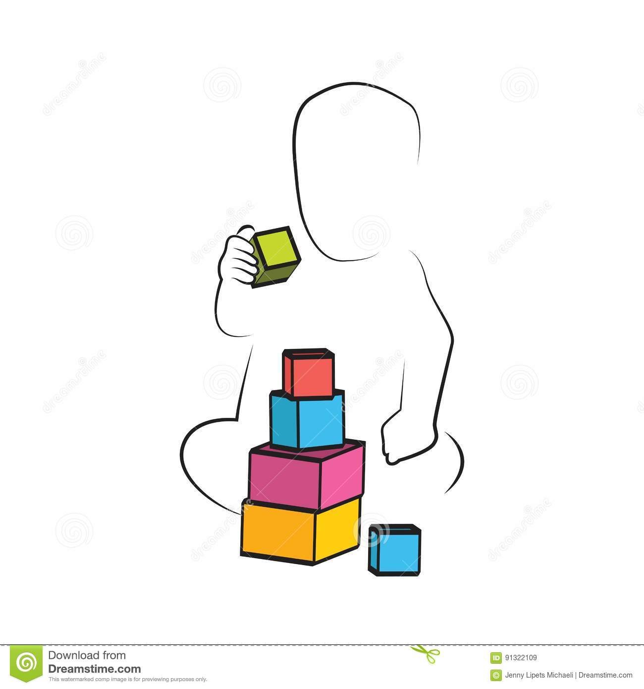Kid Playing Toys Blocks Child Development And Educational Games