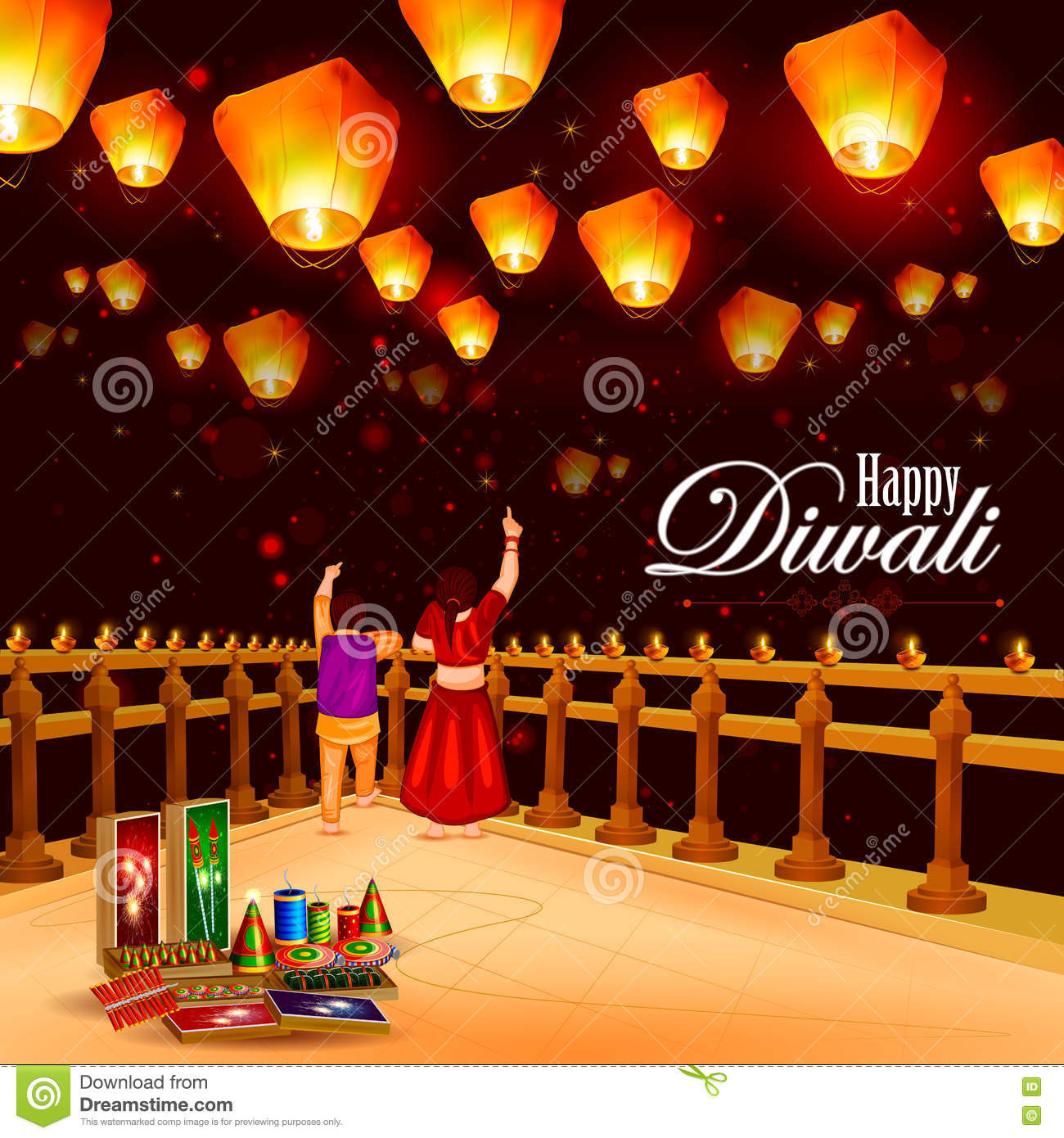 Kid Pointing Sky Lamp With Cracker For Happy Diwali Stock Vector ... for Diwali Sky Lamp  565ane