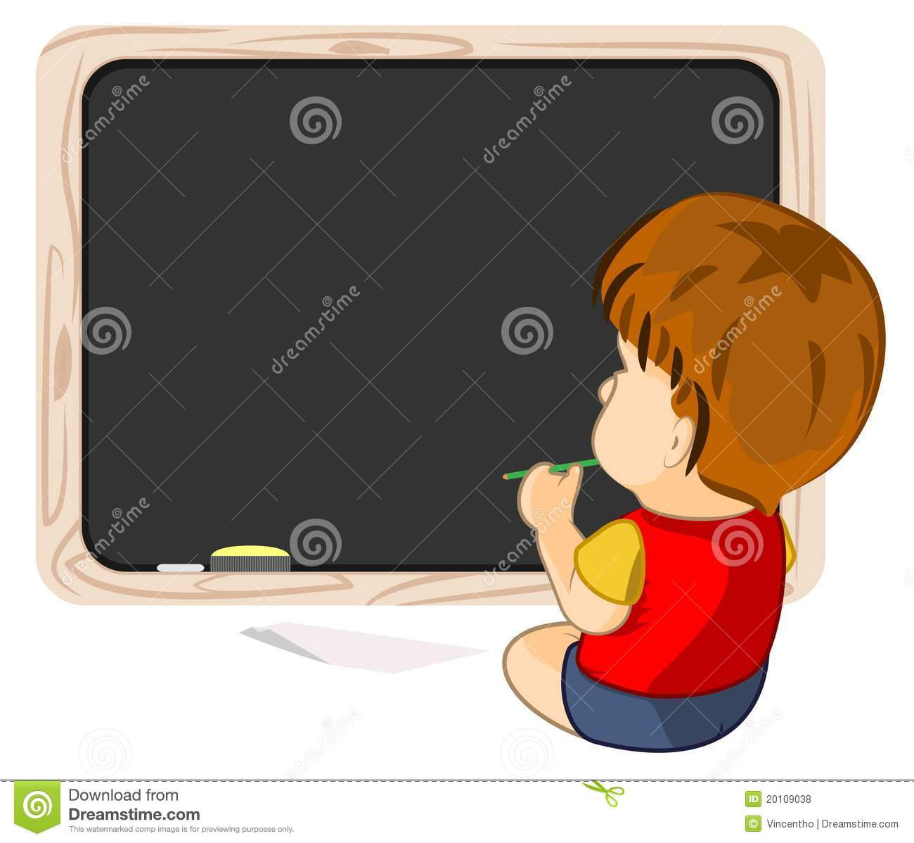 a kid pondering learning staring at blackboard stock