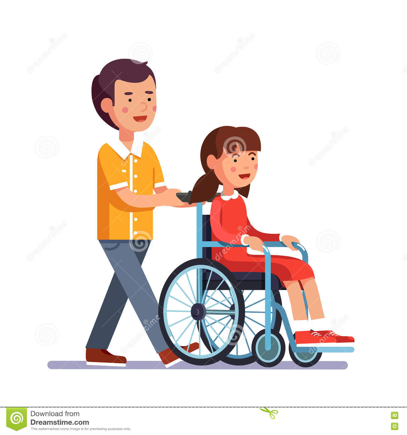 Kid Pushes Wheelchair With Person Stock Vector