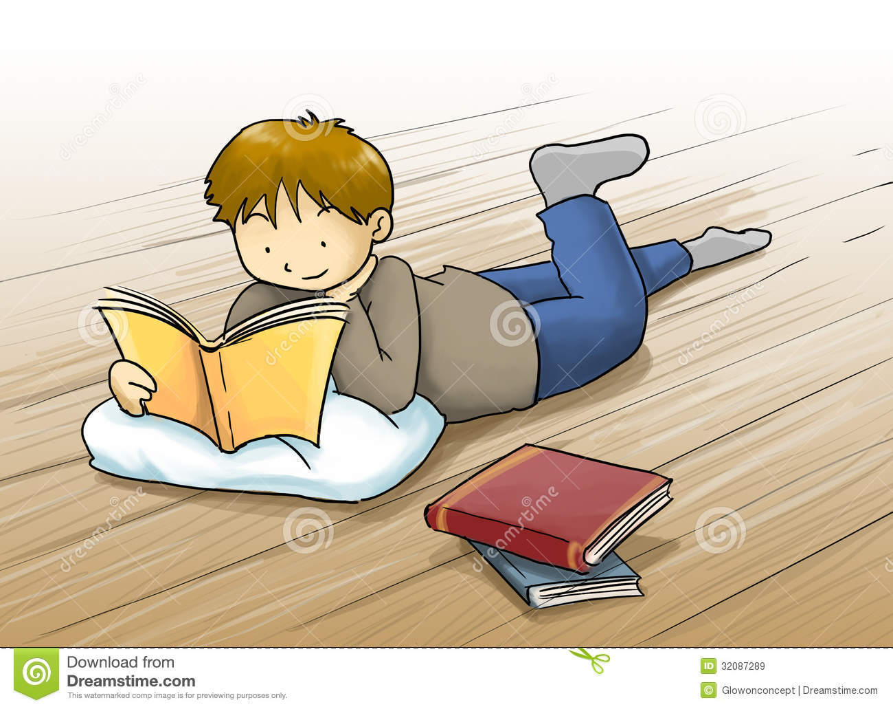 Kid Reading A Book Cartoon Illustration Royalty Free Stock