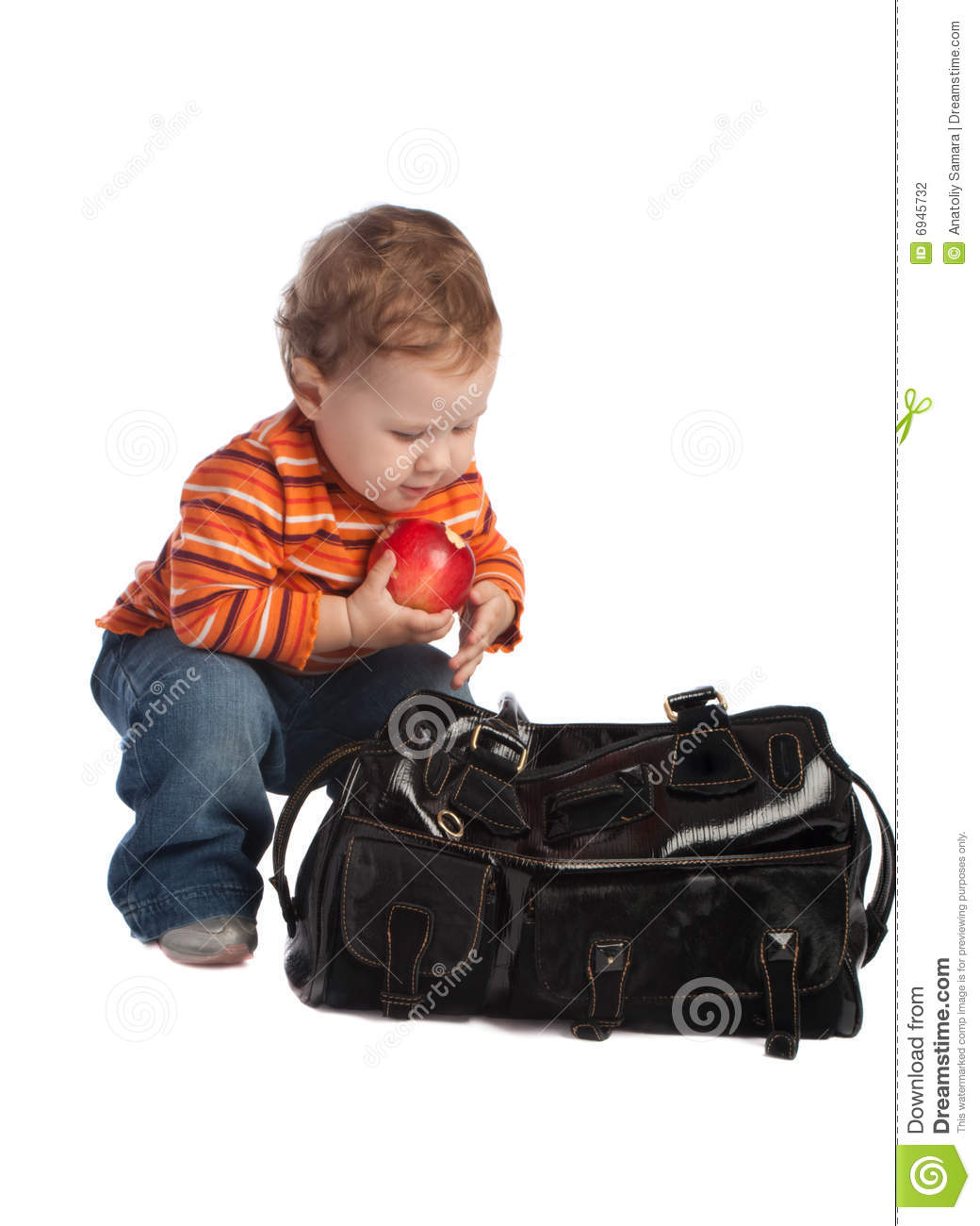 Download Kid With Red Apple, Sitting Near A Bag, Isolated Stock Photo - Image of isolated, black: 6945732