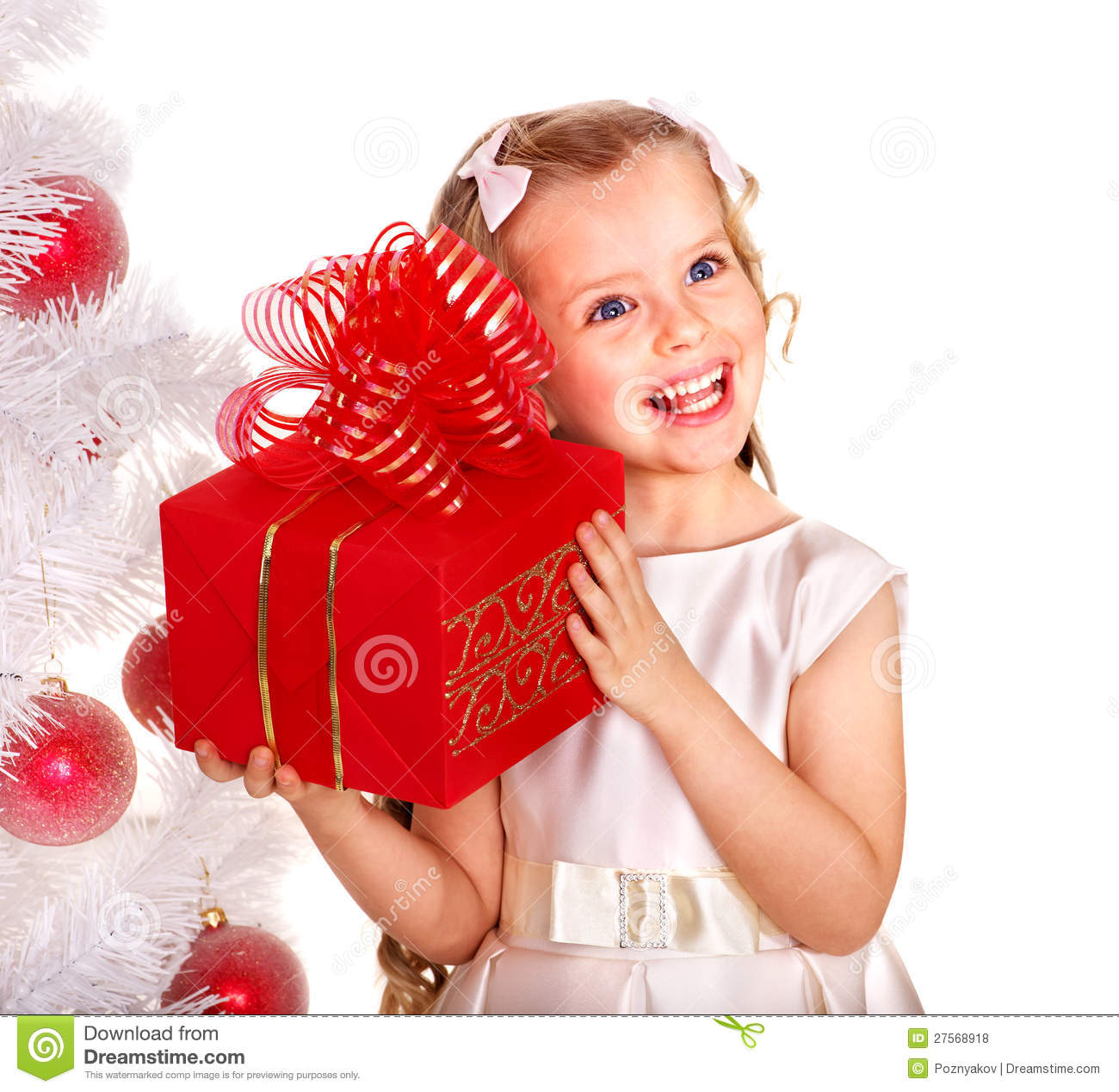 Kid with red Christmas gift box.