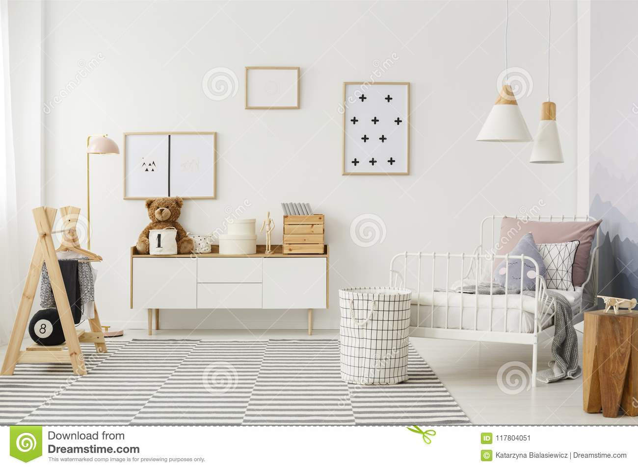 Kid`s Bedroom With Wooden Furniture Stock Image - Image of