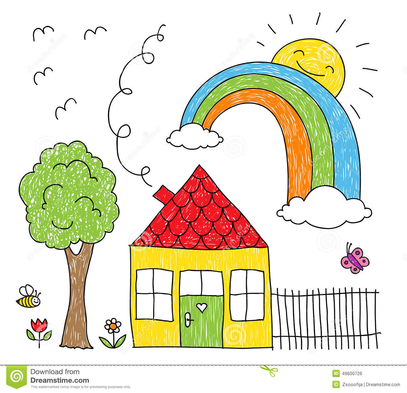 Kids Drawing Of A House Rainbow And Tree Stock Vector Image