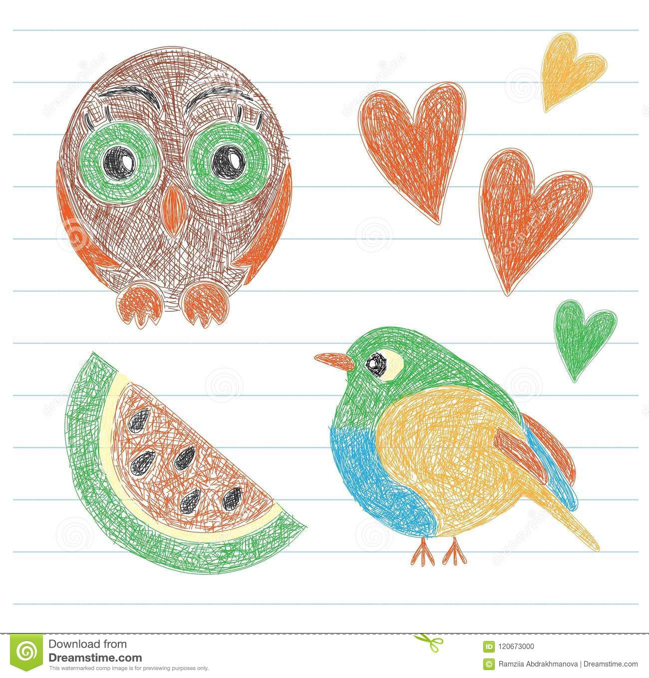 Kids drawing owl bird watermelon and heart color pencil hand drawn funny doodle sketch vector scribble of the little child